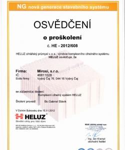 Certifikát od spoločnosti Heluz