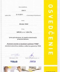 Certifikát od spoločnosti Ytong